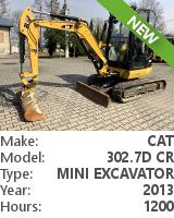 Mini tracked excavator Cat 302.7D CR